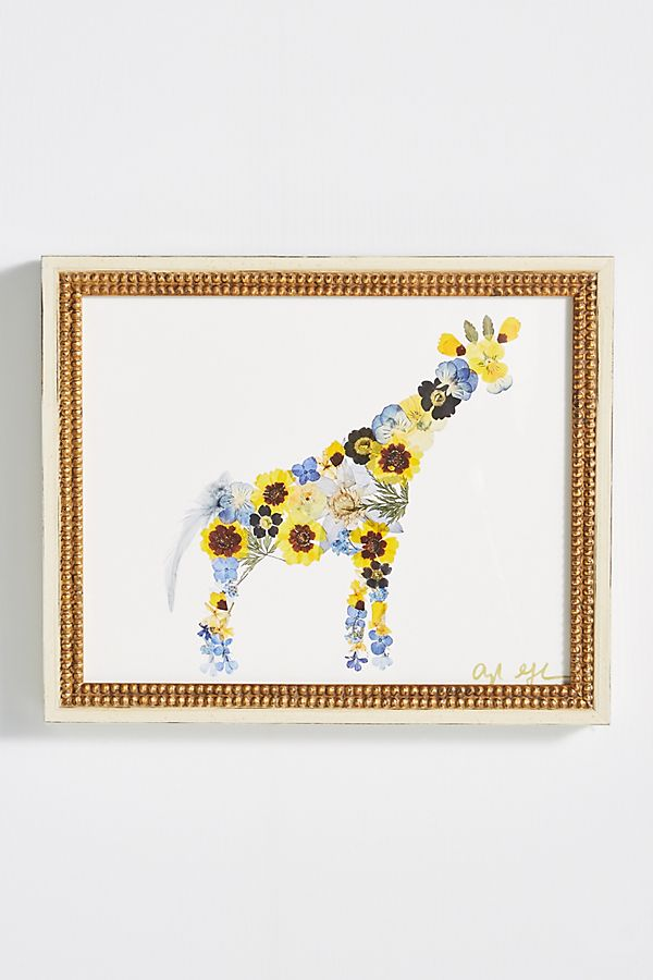 Slide View: 1: Pressed Flower Giraffe Wall Art