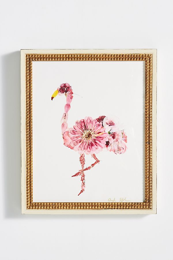 Slide View: 1: Floral Flamingo Wall Art