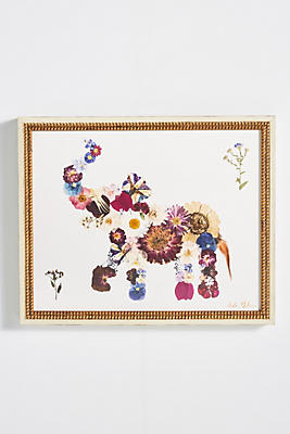 Slide View: 1: Pressed Flower Elephant Wall Art