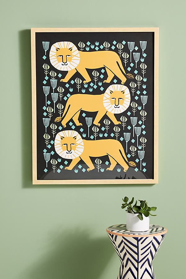 Safari Lion Wall Art - Gold