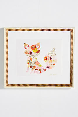Slide View: 1: Pressed Flower Fox Wall Art