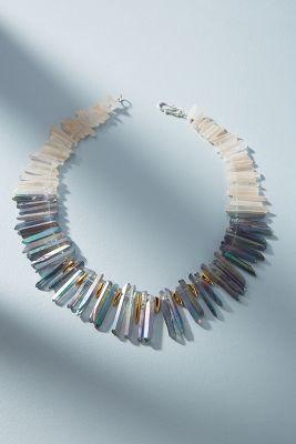Tina Lilienthal   Rainbow Quartz Bib Necklace  -    BLUE