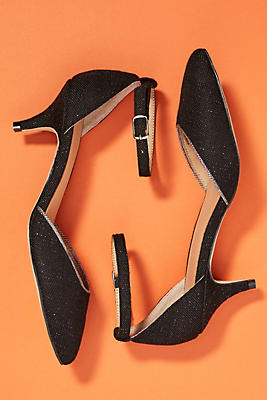 Anthropologie Piped Wrap-Around Kitten Heels