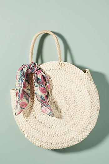 Classic Straw Circle Tote Bag