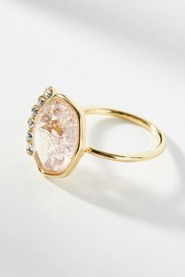 Crowned Cocktail Ring  -    PINK