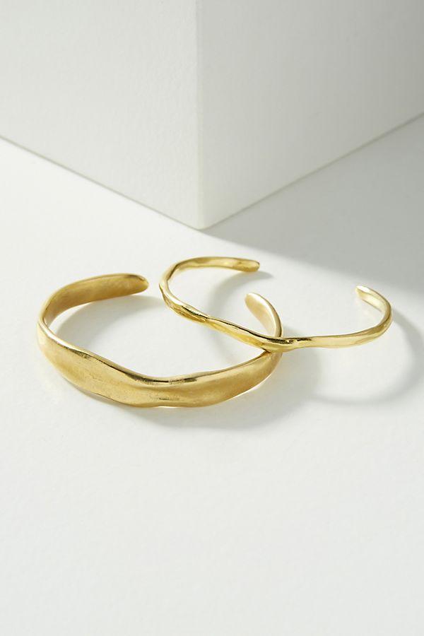 Slide View: 1: Modern Metalwork Cuff Bracelet Set