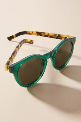Pared Eyewear   Pared Eyewear Lime + the Coconut Round Sunglasses  -    Green Tortoise