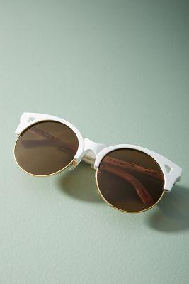 Pared Eyewear   Pared Eyewear Up + At 'Em Round Sunglasses  -    WHITE