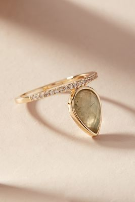 Gemstone Teardrop Ring by Melanie Auld