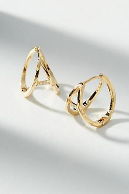 Anthropologie Blanche Split Hugger Hoop Earrings q6vzm
