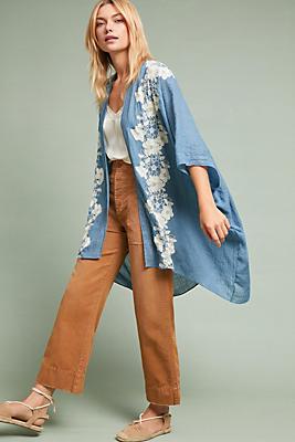 Slide View: 1: Azurine Floral Kimono