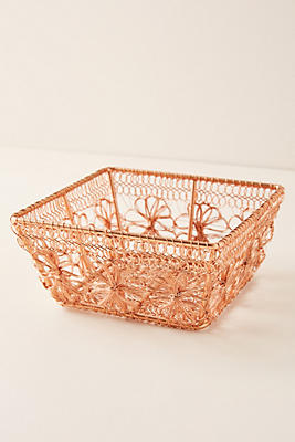 Copper Floral Basket by Anthropologie