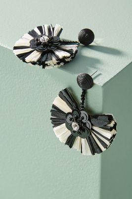 Tahoe Raffia Drop Earrings  -    BLACK