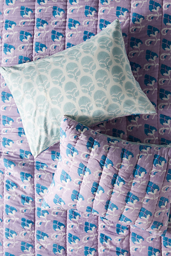 Block-Printed Grecca Pillowcases - Assorted, Size Std Shams