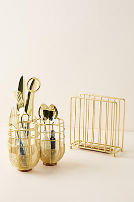 Slide View: 2: Gold Wire Napkin Holder