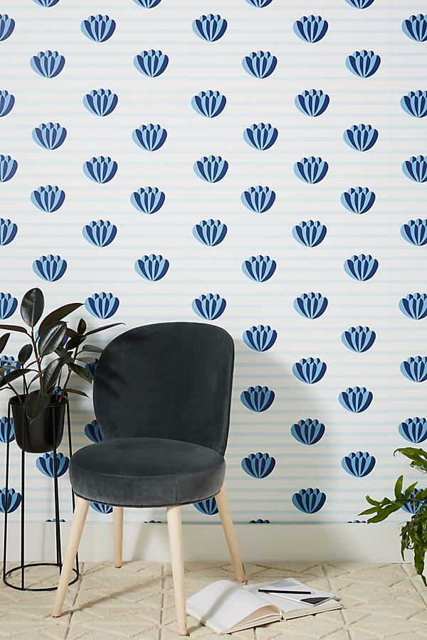 Clare V Lotus Striped Wallpaper In Blue