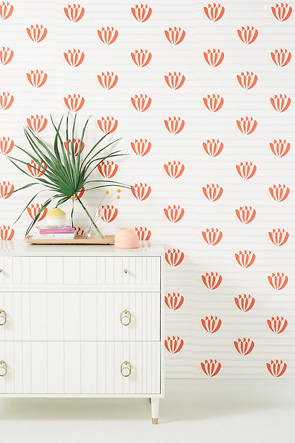 Clare V Lotus Striped Wallpaper In Pink