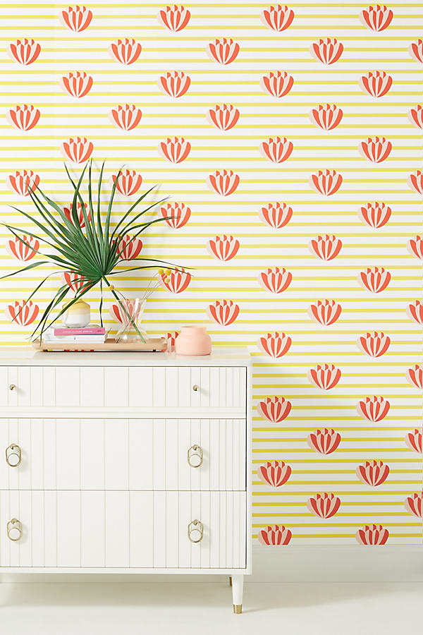 Clare V Lotus Striped Wallpaper In Yellow