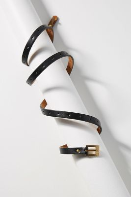 Claire Skinny Buckle Belt  -    BLACK