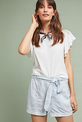 Slide View: 1: Cloth & Stone Belted Chambray Shorts