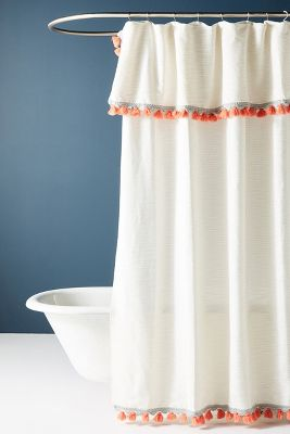 Coyuchi Scallop Striped Shower Curtain