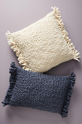 Slide View: 4: Fringed Knit Pillow