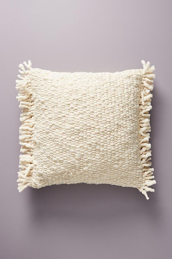 Billa Fringed Cushion - White, Size 20 In Sq
