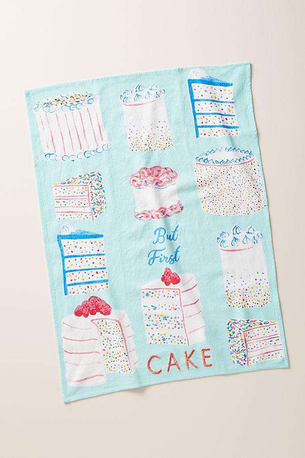 But First, Cake Dishtowel - Blue, Size Dishtowel