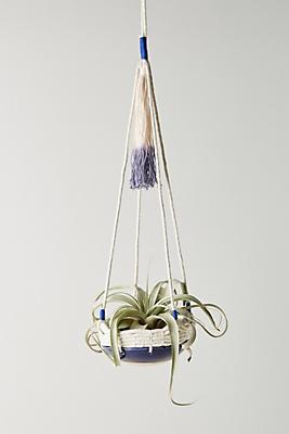 Slide View: 1: Dip-Dyed Ceramic Hanging Planter