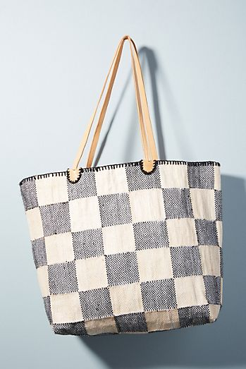 En Shalla Large Checkered Tote Bag