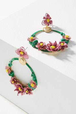 Elizabeth Cole   Pearson Flower Hoop Earrings  -    PINK