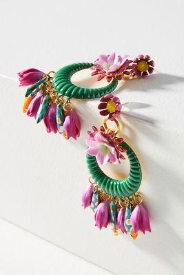 Elizabeth Cole   Abbot Wreath Drop Earrings  -    PINK