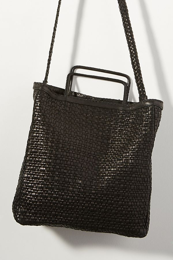 Slide View 1 En Shalla Woven Leather Tote Bag