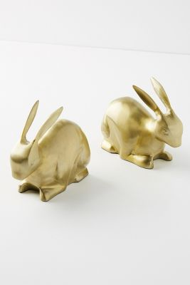 Gilded Bunny Bookends by Anthropologie