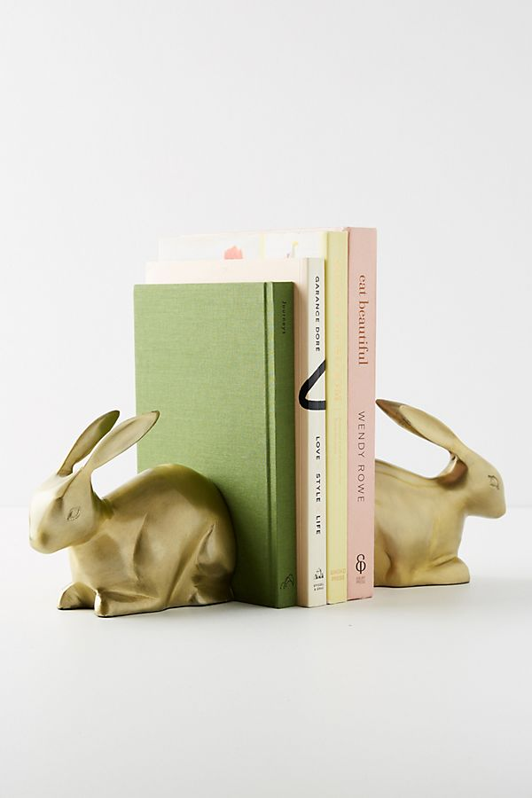 Slide View: 2: Gilded Bunny Bookends