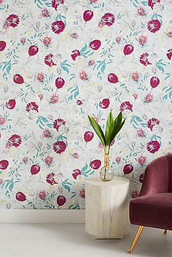 Floral wallpaper modern floral wallpaper anthropologie scattered buds wallpaper mightylinksfo