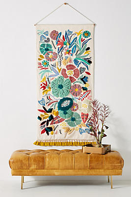 Slide View: 1: Embroidered Cleo Wall Hanging