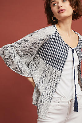 Slide View: 1: Gingham Eyelet Kimono