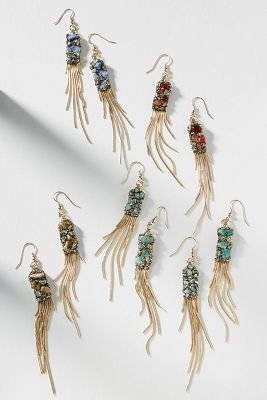 Marly Moretti   Fringed Stone Drop Earrings  -    ASSORTED