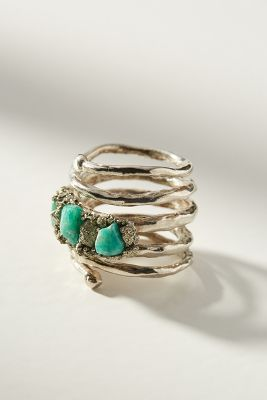 Silver + Stone Wrap Ring by Marly Moretti