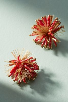 Falling Fireworks Post Earrings  -    RED