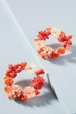 Fiori Wreath Earrings  -    ORANGE