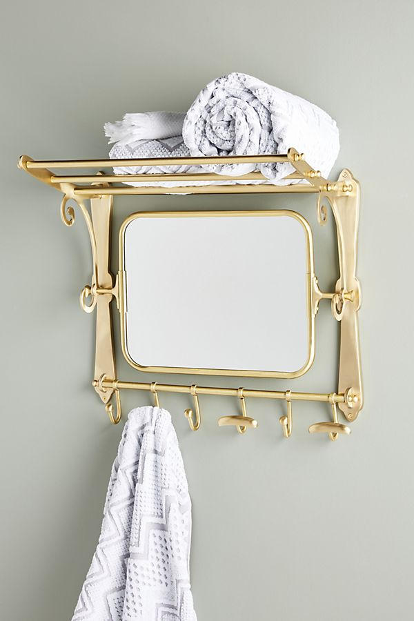 Slide View: 1: Wall-Mounted Hanging Rack With Mirror
