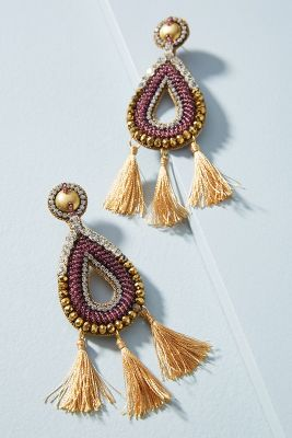 Tri-Tassel Drop Earrings  -    PURPLE