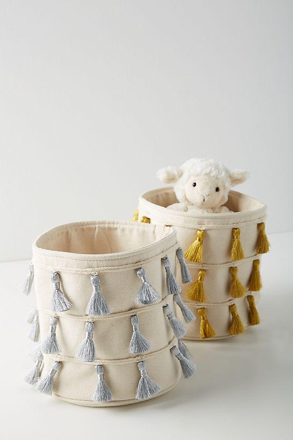 Slide View: 3: Tasseled Storage Basket