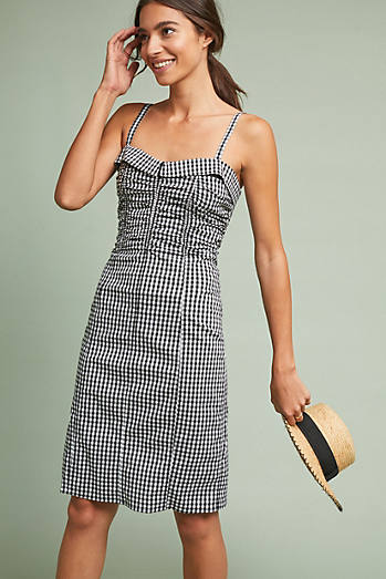 Ruched Gingham Dress