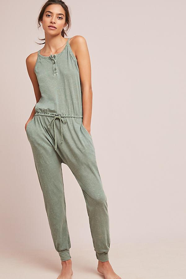 Sundry Henley Jumpsuit - Green, Size Xl