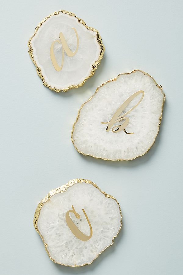 Monogram Agate Coaster | Anthropologie