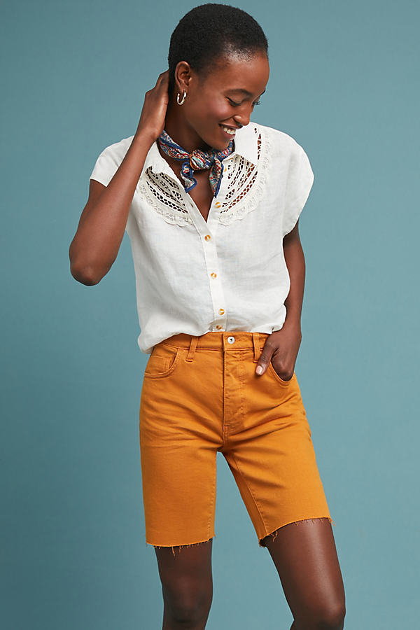 Pilcro Mid-Rise Denim Bermuda Shorts - Yellow, Size 25