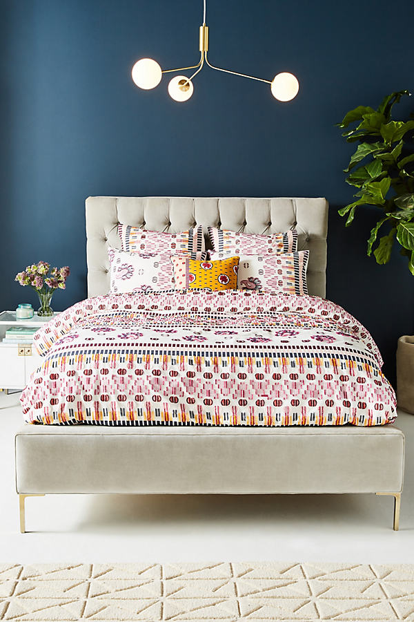 SUNO for Anthropologie Woven Malindi Duvet Cover - Assorted, Size Q Top/bed